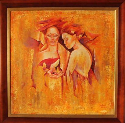 """LEDOUX Gisèle """"Manawee les deux natures de femmes"""" Huile sur toile marouflée , avec..."""