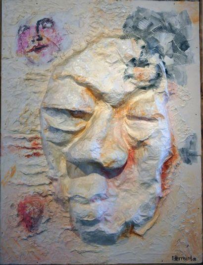 """PERREARD Dominique """"Bas-relief"""".Technique mixte - Modelage papier sur bois, acrylique,..."""