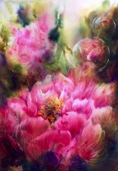 """IZQUIERDO Corinne """"Pivoines rose"""" Aquarelle 35 x 48 cm hors cadre - Frais de transport..."""