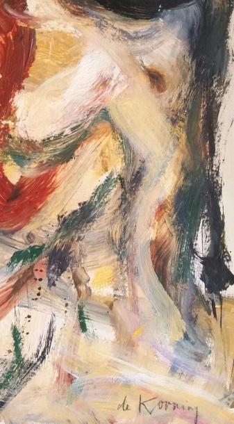 DE KOONING Willem (1904-1997) « Untitled » Peinture sur papier marouflée sur toile,...