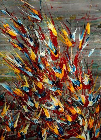 Charles CARSON (1957) « Réveil de la nature » Acrylique sur toile, mosaïque 114 x...