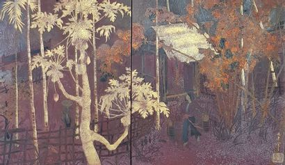 Pham Hau (1903-1995) « Village dans la palmeraie » Peinture polychrome, or et argent...