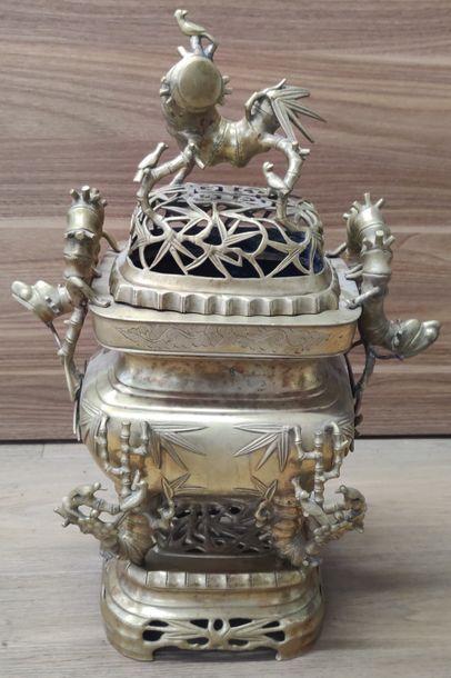 INDOCHINE - Vers 1900  Brûle-parfum en bronze...