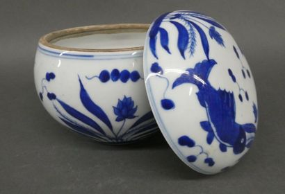 Vase couvert en porcelaine blanc bleu à décor...