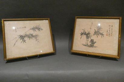 CHINE  Paire de peinture sur soie représentant...