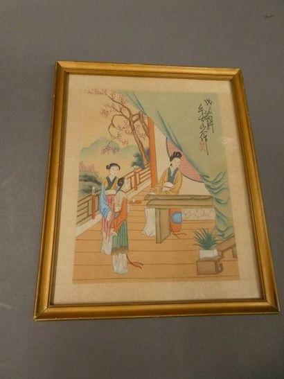 CHINE, Xxè siècleTrois peintures chinoise...