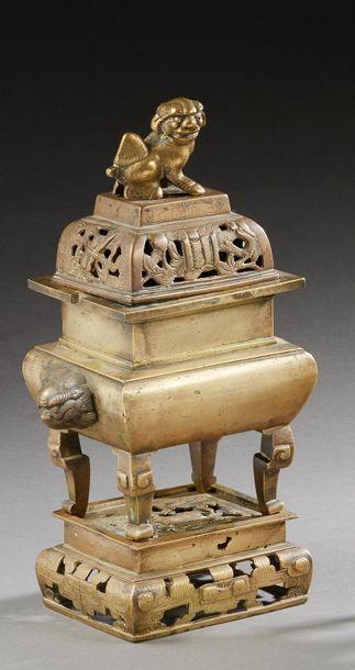 CHINE    Brûle-parfum rectangulaire en bronze...