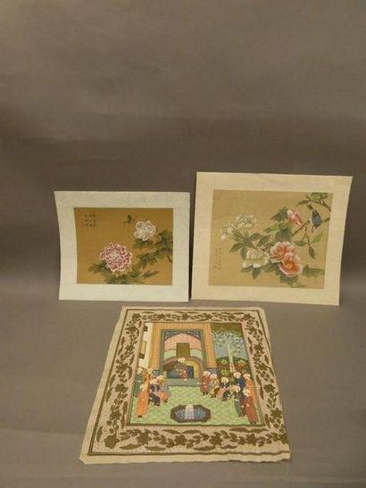 CHINE    Suite de deux peintures sur tissu...