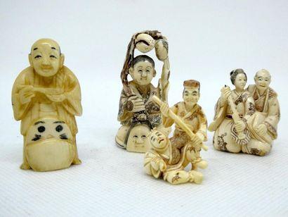 CHINE, vers 1900    Suite de 5 netsukes en...