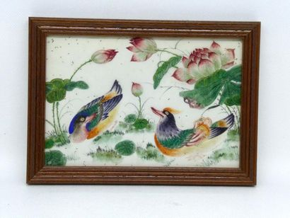 CHINE    Paire de peintures sur papier représentant...