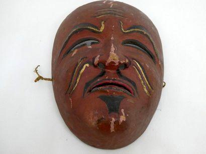 JAPON    Masque de théatre en bois peint....