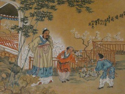 CHINE    Paire de dessins représentant des...