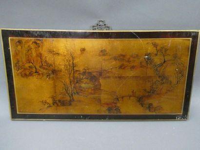 CHINE    Panneau en bois laqué représentant...