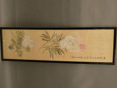 Peinture sur papier représentant des fleurs....