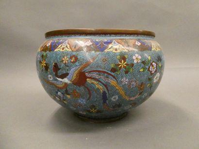 CHINE    Vase boule en bronze cloisonné à...