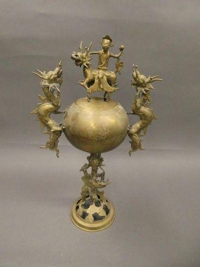 CHINE    Brûle parfum en bronze, les anses...