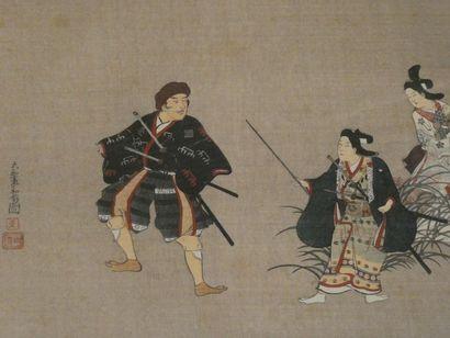 JAPON    Trois personnages    Estampe. Dim...