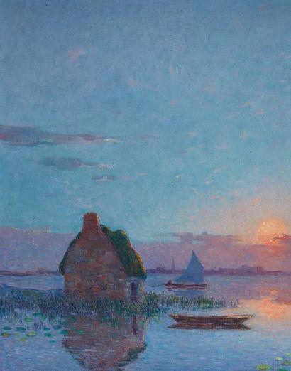 Ferdinand Loyen du PUIGAUDEAU (1864-1930) Coucher de soleil sur la grande brière,...