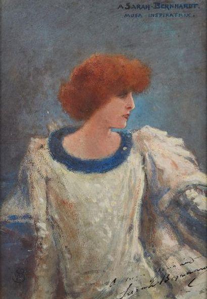 Walter Sauer (1889-1927) ***Portrait de Sarah Bernhardt Huile sur carton monogrammée...