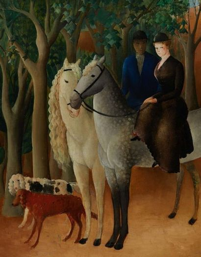 OLGA NICOLAEVNA SACHAROFF (1879/89-1967/69) La promenade à cheval Huile sur toile...