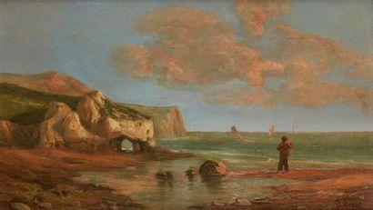 Eugenio AMUS (1834-1899) Pêcheur en bord de mer Huile sur toile Signée en bas à droite...