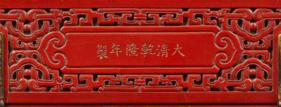 CHINE Box in red cinnabar lacquer, with sculpted decoration of chimeras running among...