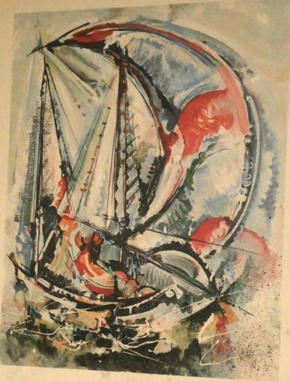 Roger LERSY Voiliers en régate Lithographie...