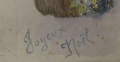 Ecole Française début du Xxè siècle Projet de cartes de vœux et de cartes postales...