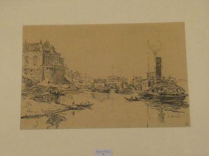 Ecole début du Xxè siècle Bateaux à quai...