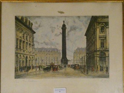 Charlotte MOLLET Paris, Place Vendome Gravure...