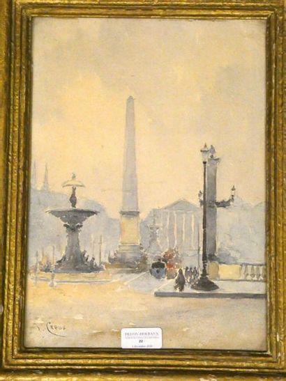 Jean CREUS (né en 1940) Place de la concorde...