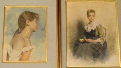 Ecole fin XIXè siècle Jeune fille assise...