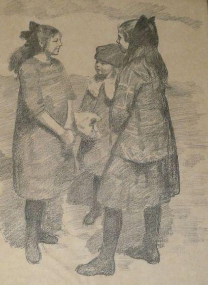 Ecole Moderne du Nord Portrait de fillettes...