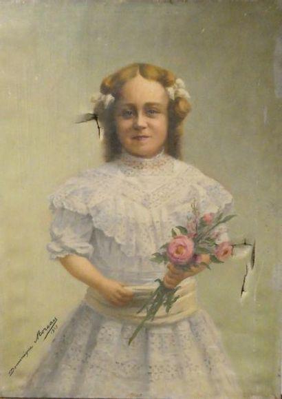 Dominique MOREAU (Xxè siècle) Portrait de...
