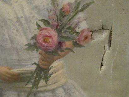 Dominique MOREAU (Xxè siècle) Portrait de fillette au bouquet de fleurs Huille sur...