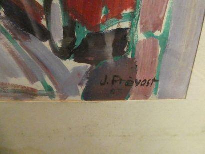Jean prevost, né en 1934 Scène de rue en alsace Gouache sur papier, signée en bas...