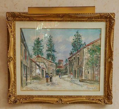 Maurice UTRILLO (1883-1955) Rue de la basilique à Domrémy (Vosges) Aquarelle gouachée,...