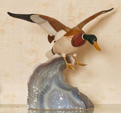 CANARD en vol en labradorite, jaspe et pierres...