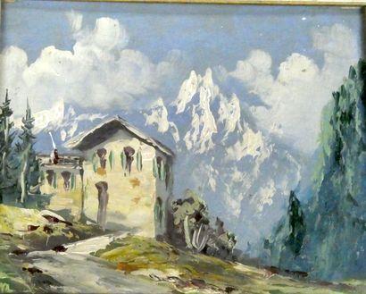 Ecole française du Xxème  Paysage de montagne...