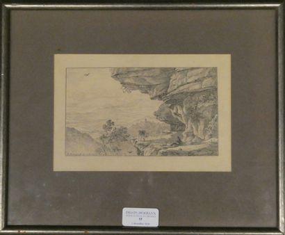 Ecole du xixè siècle  Deux chasseurs au bord d'une falaise  Gravure en noir, datée...