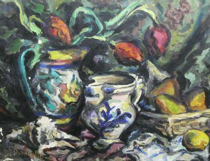 Jacques DÉMOULIN (1905-1991)  Fleurs et fruits...