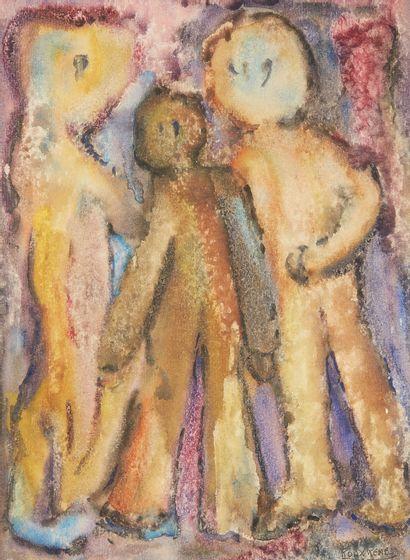RENÉ ROUX (1891-1952)  Trois personnages...