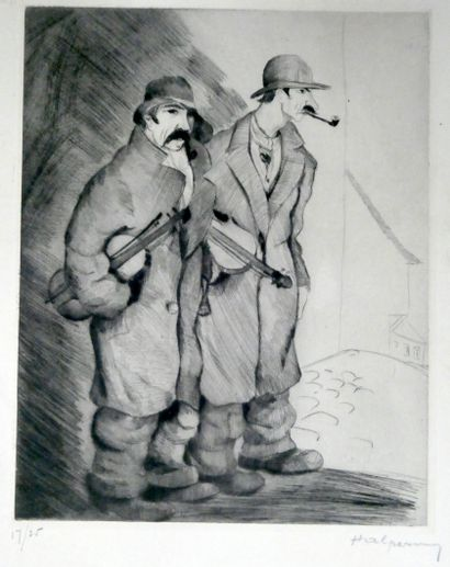 HALPERN  Deux musiciens.  Pointe sèche signée...