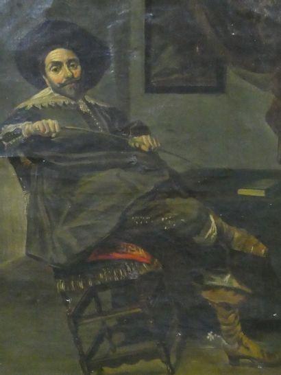 Ecole XIXe  Portrait d'homme à l'épée  Reprise...