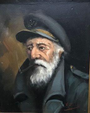 Ecole du XXè siècle  Portrait de marin  Huile...