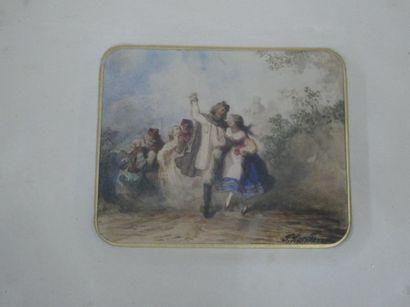 Ecole fin XIXè siècle  Danse paysanne  Aquarelle...