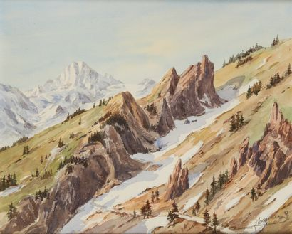 WAGNER J., 1859-1914  Versant de montagne,...