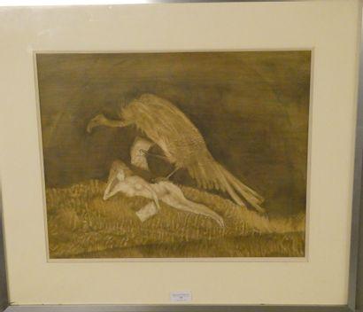 LARS BO (1924-1999)  Femme et vautour  Lithographie en couleurs, signée en bas dans...