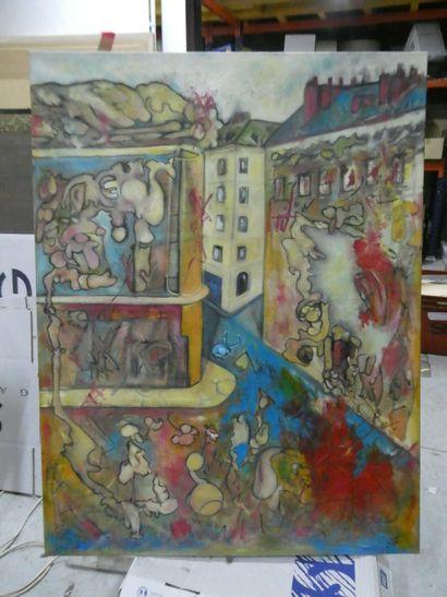 YAZ  Scène de rue  Huile sur toile, signée...