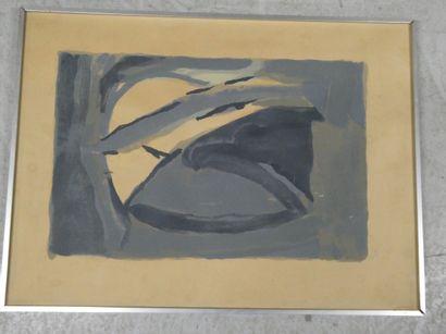BRAM VAN VELDE , d'après  composition en bleu  Lithographie, signée en bas à droite...